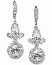 GIVENCHY Silver Tone Crystal Pave  Drop Earrings NWT $52