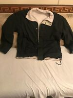 Men's Izod Black Fleece jacket sz M Black Or Ivory Fleece Reversible With Pocket