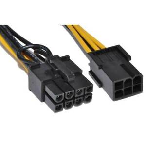 10cm PCI Express PCIe 6 Pin to 8 Pin Graphics Card Power Adapter Cable [006486]