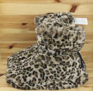 Memory Foam Vibrating Booties Faux Fur Leopard Print NWOT Shoes Slippers Large