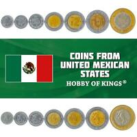7 MEXICAN COINS. 10, 20, 50 CENTAVOS, 1, 2, 5, 10 PESOS. MEXICAN LATEST CURRENCY