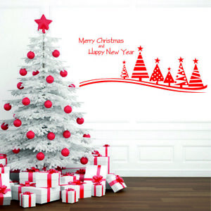 Merry Christmas Tree Wall Stickers Winter Window Shop Decals