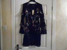 LIPSY FLORAL PRINT LONG SLEEVED WRAP DRESS SIZE 6 RRP £58 - BNWT - 160