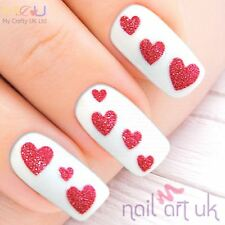 Glitter Fuschia Pink Heart Adhesive Nail Art Stickers Decorations Decals