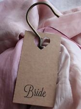 5 PERSONALISED BRIDESMAID DRESS NAME TAGS-HANGER-Kraft Card-Wedding-Bridal Party
