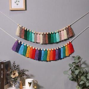Colored Cotton Tassels Hanging Garland Wedding Nursery Home Wall Banner Decor