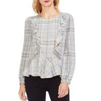 VINCE CAMUTO NEW Women's Plaid Ruffled Peplum-hem Blouse Shirt Top TEDO