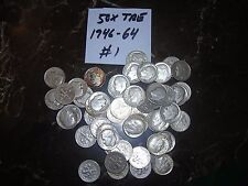 1946-1964 FULL ROLL OF 50 ROOSEVELT SILVER DIME ROLL 10 CENT LOT 50 MIXED DATE