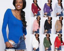 S M L Women's Scoop Neck Bodysuit Basic Solid Color Long Sleeve Plain Soft Knit