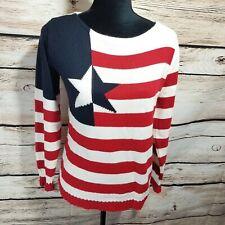 Chelsea Studio Women's Size Small Crewneck American Flag Sweater Vintage Texas