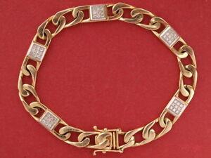 "Solid 9ct yellow gold Diamond 7.7mm Flat Curb Bracelet 24.10 grams 8"" long"