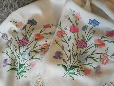 Vintage hand embroidered linen tablecloth sweet peas ? Fairystitch floral large