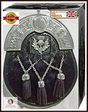 Scottish Highland Kilt Sporran Best Quality Black Cowhide Leather  & Chain Belt