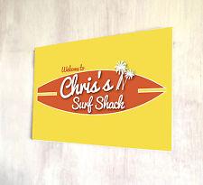 personalizado amarillo surf Cabaña Playa Señal Bar A4 Placa Metal Shabby Chic