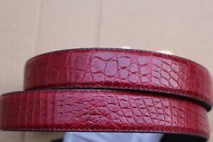 Burgundy Men's Belt Genuine Crocodile Alligator Skin Leather Belt Handmade