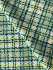"Vintage Wool Yardage, Green/cream Plaid, 4 Yards 44"" Wide"