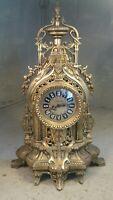 Large Heavy Brass alarm Mantel Clock