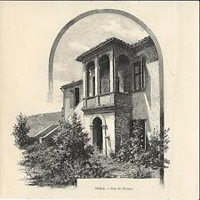 Stampa antica ARQUA' Arquà Casa del Petrarca Padova 1892 Old antique print