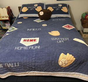 Pottery Barn Vintage Kids Baseball Comforter Quilt Full Queen Corduroy 2 Shams