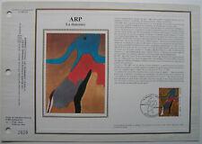 JEAN ARP   Feuillet CEF Timbre 1er jour SOIE - 1988