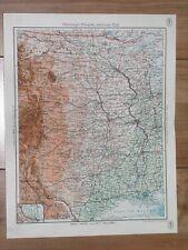 1938 ORIGINAL VINTAGE MAP OF CENTRAL USA TEXAS OKLAHOMA LOUISIANA COLORADO