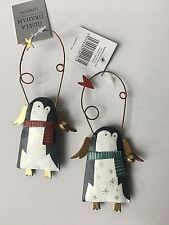 Gisela Graham Set 2 TIN Forest Folk Pinguini con le ali da appendere NATALE 14017