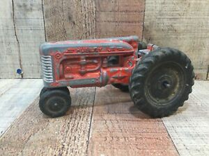 "HUBLEY JR Diecast Narrow Front Farm Tractor Kiddie Toy Red  7"" Long 1960s"
