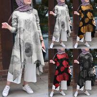 ZANZEA Femme Floral Manches longues Asymétrique Tops Abaya Muslim Shirt Robe