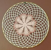Pink Flower Crochet Doily Wall Hanging Dream Catcher in 10 inch Gold Ring, New