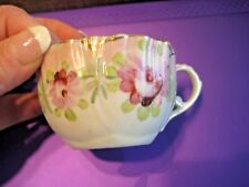 Vintage White Gold Trim Pink Flower Porcelain China Coffee Cup