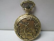 Majestime Hunting Gold Tone Running Pocket Watch 17 Jewels