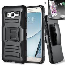 Samsung Galaxy On5 Hybrid Rugged Holster Case Cover Stand Clip Tempered Glass SP