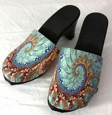 Onesole Heels Shoes Womens Size 6 Swirl Geometric Print Clogs Interchangeable