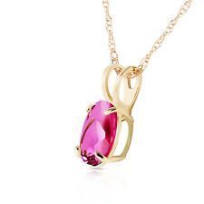 14K Solid Gold Women's Cute Heart Asks Mind Pink Topaz Fashion Necklace 0.85 Ct