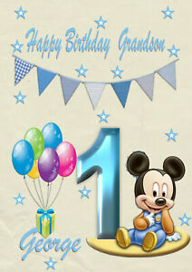 Personalised birthday card Micky Mouse son grandson nephew brother 1st 2nd 3rd