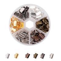 BOITE d'env. 120 EMBOUTS PINCES ATTACHE RUBAN 10mm 6 COULEURS perles bijoux
