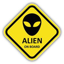 Alien On Board Sign Car Bumper Sticker Decal 5'' x 5''