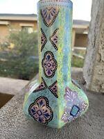Antique Thomas Webb Moroccan Garden Pattern Hand Enameled Glass Vase Opalesque