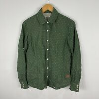 Kathmandu Womens Button Shirt Top 8 Green Polka Dot Long Sleeve Collared
