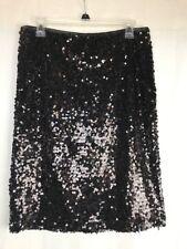 Carmen by Carmen Marc Valvo Black Sequined Pencil Evening Skirt Size 8
