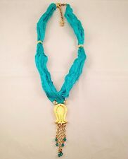 Handmade Turquoise Silk Gold Plated Tulip Charm Swarovski Crystals Necklace