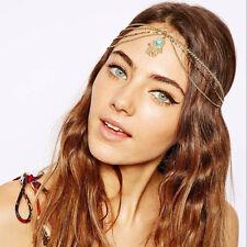 Gold Fatima Turquoise Head Chain Boho Headband Metal Tassel headwear Bohemian
