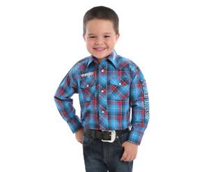 BOY'S LOGO Wrangler Long Sleeve Western SNAP SHIRT BP1320M