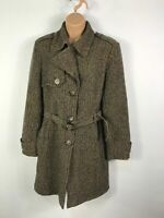 WOMENS NEXT BROWN MULTI SINGLE BREASTED OVERCOAT JACKET WITH BELT SIZE UK 12