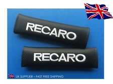 2x RECARO Embroidered - CARBON FIBRE - Seat Belt Shoulder Cover Pads - UK Stock