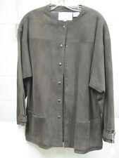 "Ladies ""Cambridge Shop"" Chocolate  suede leather two piece suit  Size 14"