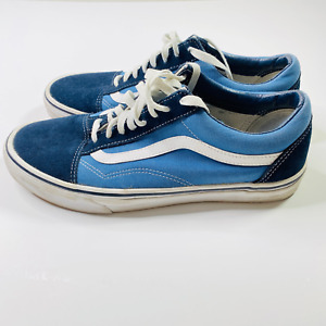 Vans Mens Navy Blue White Old Skool Lace Up Athletic Sneaker Shoes Size US 9.5
