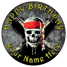 """PIRATES OF CARIBBEAN SKULL - 7.5"""" PERSONALISED ROUND EDIBLE ICING CAKE TOPPER"""