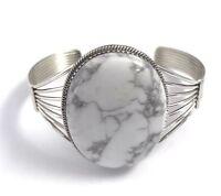 Native American  Sterling Silver Navajo Handmade Howlite Cuff Bracelet