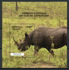 Togo 2014 MNH Endangered Animals of Africa 1v S/S I Rhinos Rhinoceros Stamps